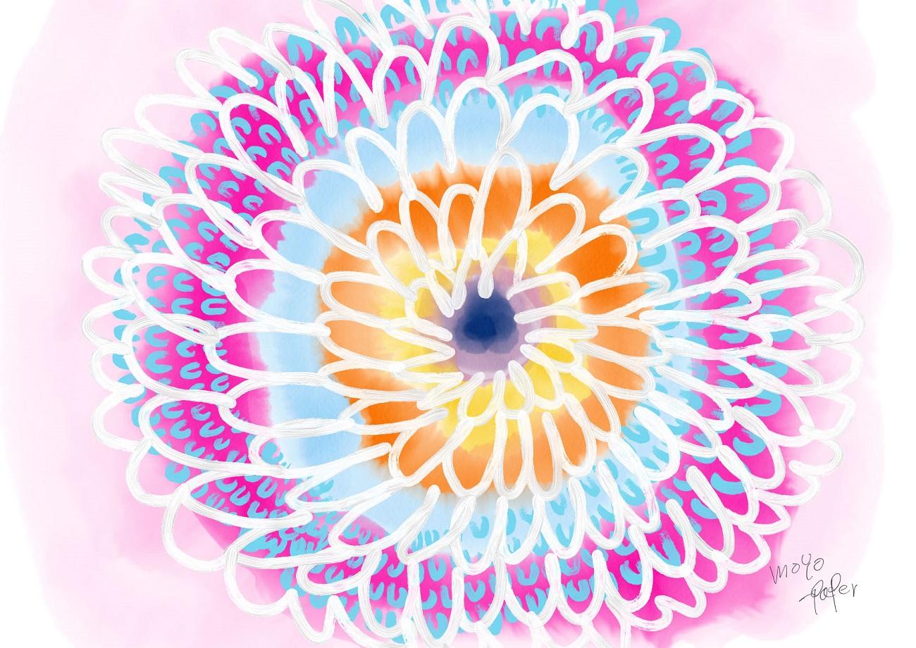 ピンクとオレンジと水色の花 水彩包装紙