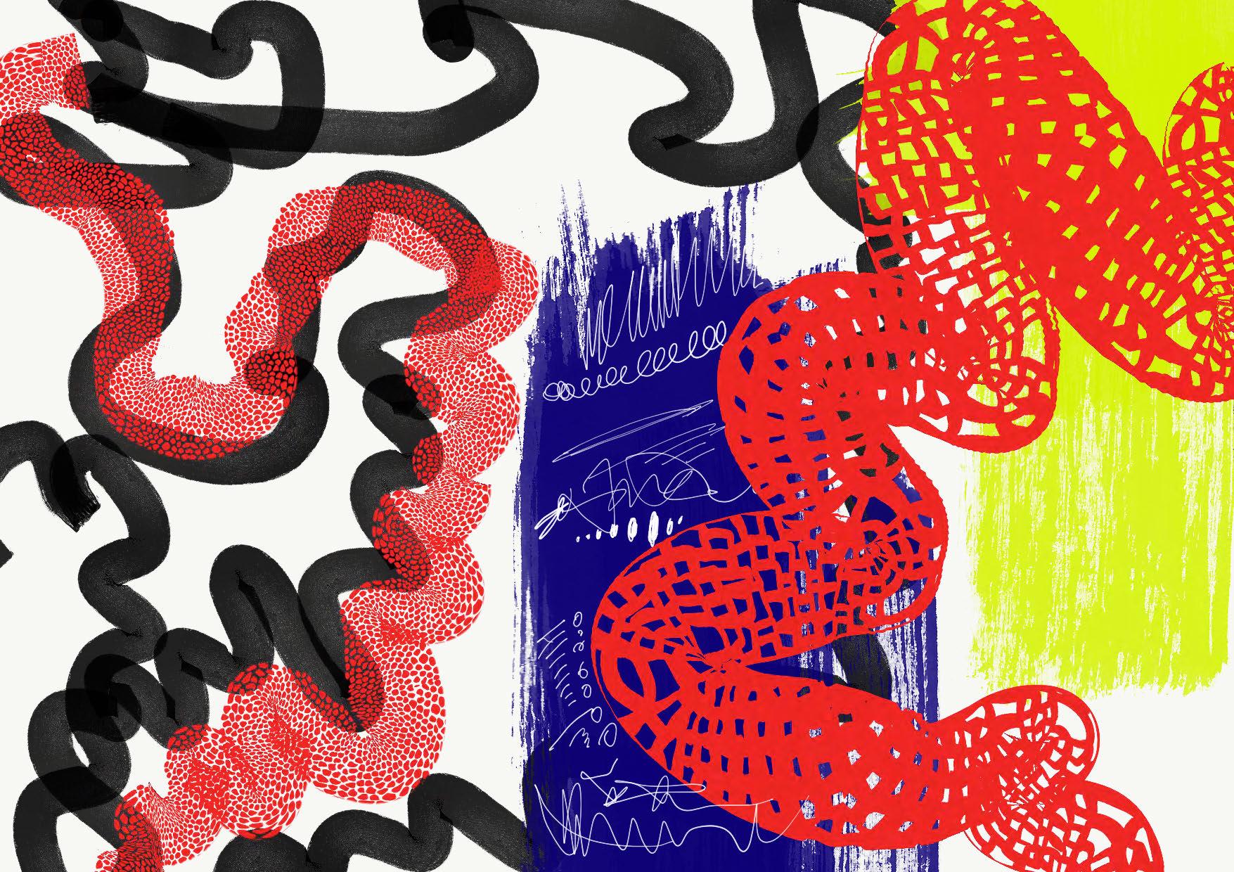 カラフルな手描きのおしゃれ包装紙
